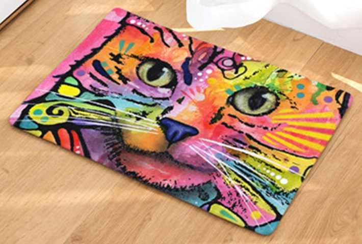 CAMMITEVER Colorful Cartoon Graffiti Comics Cat Floor Rug Doormat Oil Painting Mat Living Room Tapete Hallway Mats Decoration