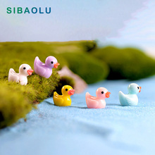 5pcs Colorful Duck miniature figures decor mini fairy garden cartoon animals Moss micro landscape ornaments resin baby toy