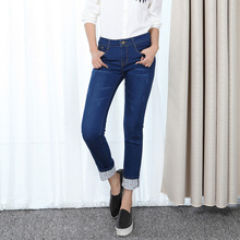 Plus Size XL-5XL Autumn Winter Women's Pencil Pants Casual Wear White Jeans Navy Blue Wz1358
