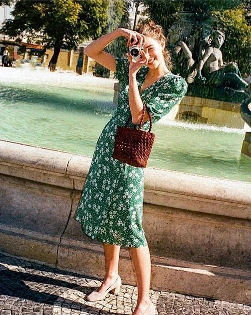 d12432a1d706e 2019 New Women Green Flower Print Wrap Dress Short Puff Sleeve French Style  Summer Fresh Midi Dress