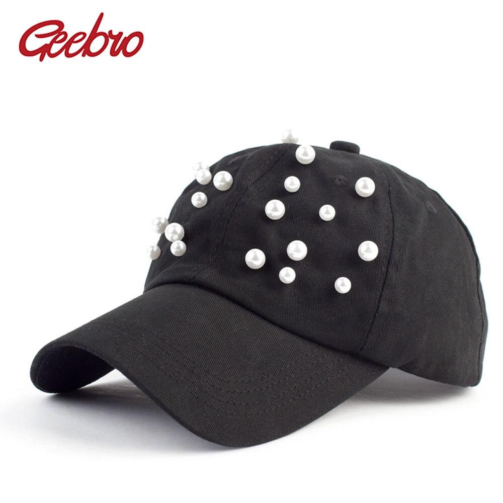 Geebro Women's White Pearl Snapback   Baseball     Cap   Summer Casual Cotton Black Bone Snapback   Caps   Gorras Hombre GB033