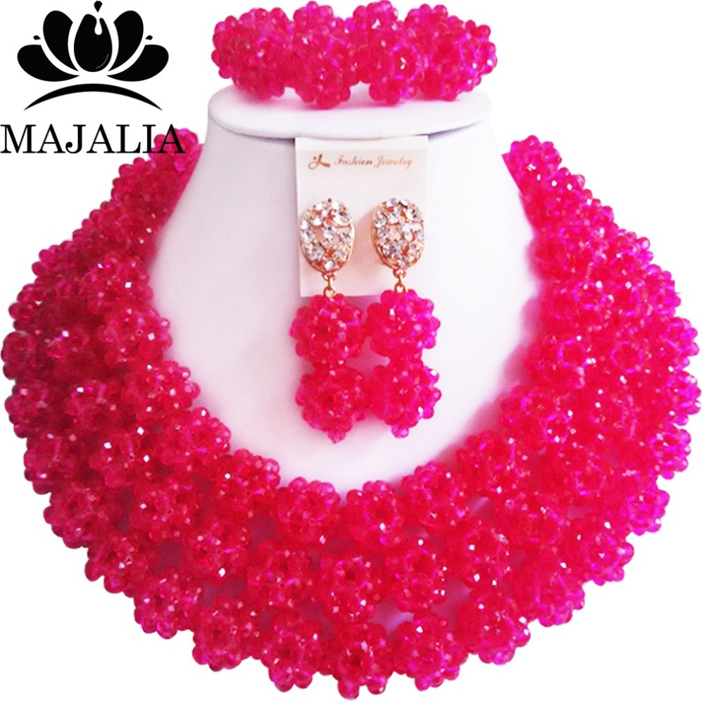 Majalia Fashion Nigeria Wedding African Beads Jewelry Set Hot pink Crystal Necklace Bridal Jewelry Sets 3CZ003Majalia Fashion Nigeria Wedding African Beads Jewelry Set Hot pink Crystal Necklace Bridal Jewelry Sets 3CZ003