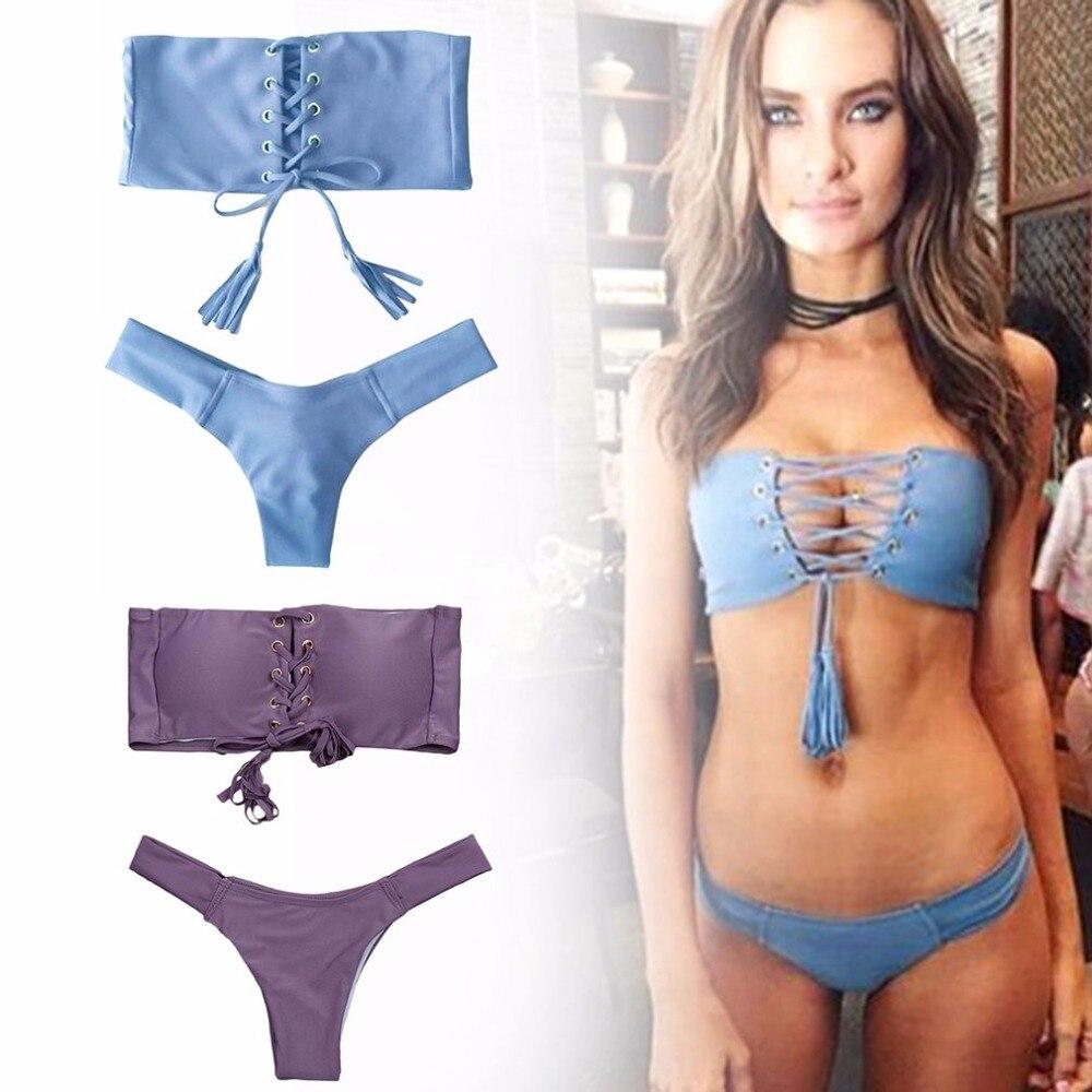 Chest Bandage Gold Buckle Bikini Brazilian 2017 Biquini Bathing Suit Swim Maillot Beach Wear Swimwear Women Sexy Swimsuit new