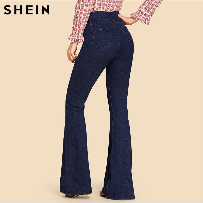 SHEIN Navy High Waist Vintage Long Flare Leg Belted Jeans Women Tie Waist Zipper Fly Retro Stretchy Black Denim Pants 4 Colors 2