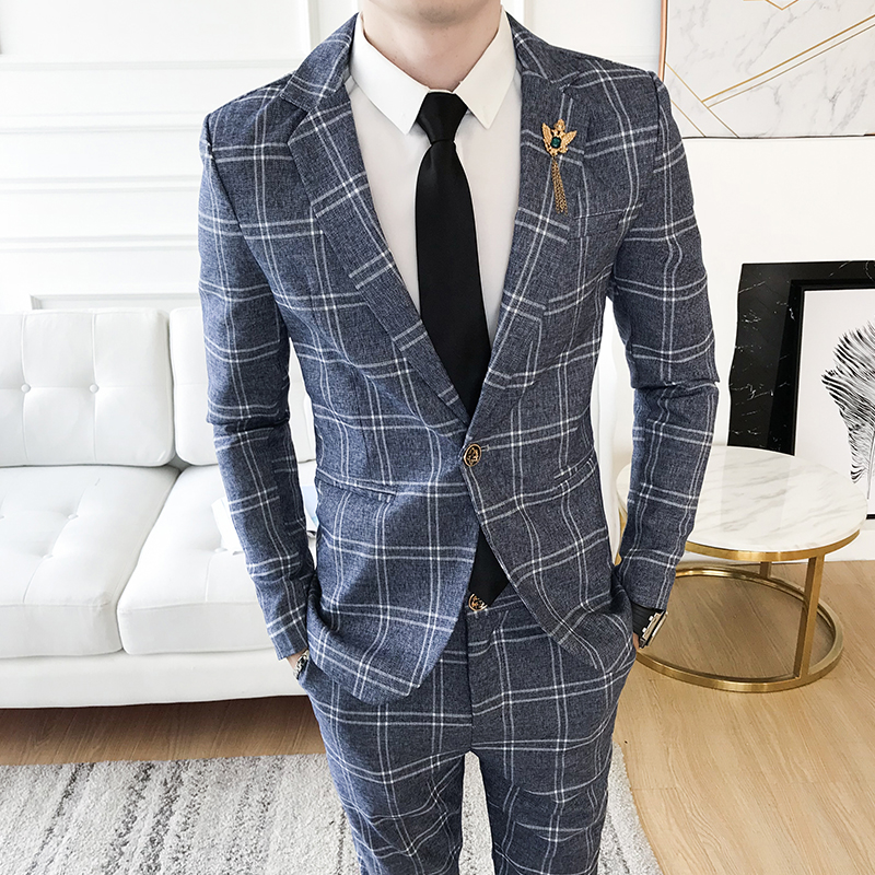 Men Striped Plaid Blazer & Pants Asian Size S M L XL XXL XXXL Men Suit Two Piece Set Slim design Blazer