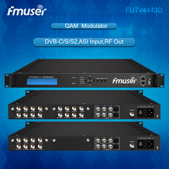 FUTV4443D 4 in 1 Mux-Scrambling QAM Modulator(8Tuner + 6*ASI in, 4Tuner + 6*ASI +2*IP out)with web managementtor