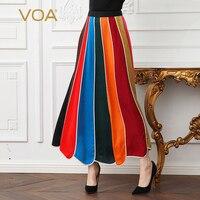 Voa шёлковый длинная юбка основной Для женщин линии юбки плюс Размеры 5XL Толстовка Оверсайз на замке High Street Лето, Мульти Цвет модные CLA03301