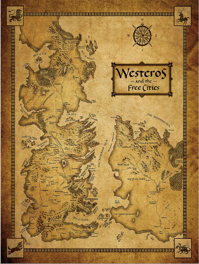 Free shipping 24x32 inch game of thrones westeros poster for Game of thrones garden ornaments