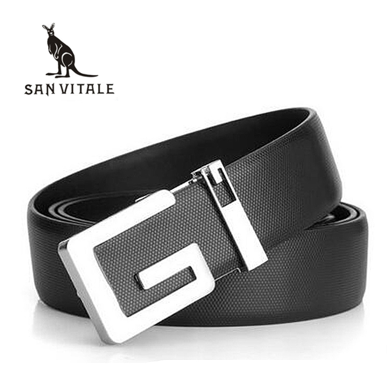 NEW Men/'s Boy/'s Genuine Leather Automatic Casual Dress WaistBand Strap Belt