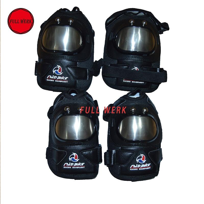 4 pcs/ensemble En Acier Inoxydable Adulte Genou Coude Garde Protecteur Couverture Moto Racing Genou Pad Accessoires