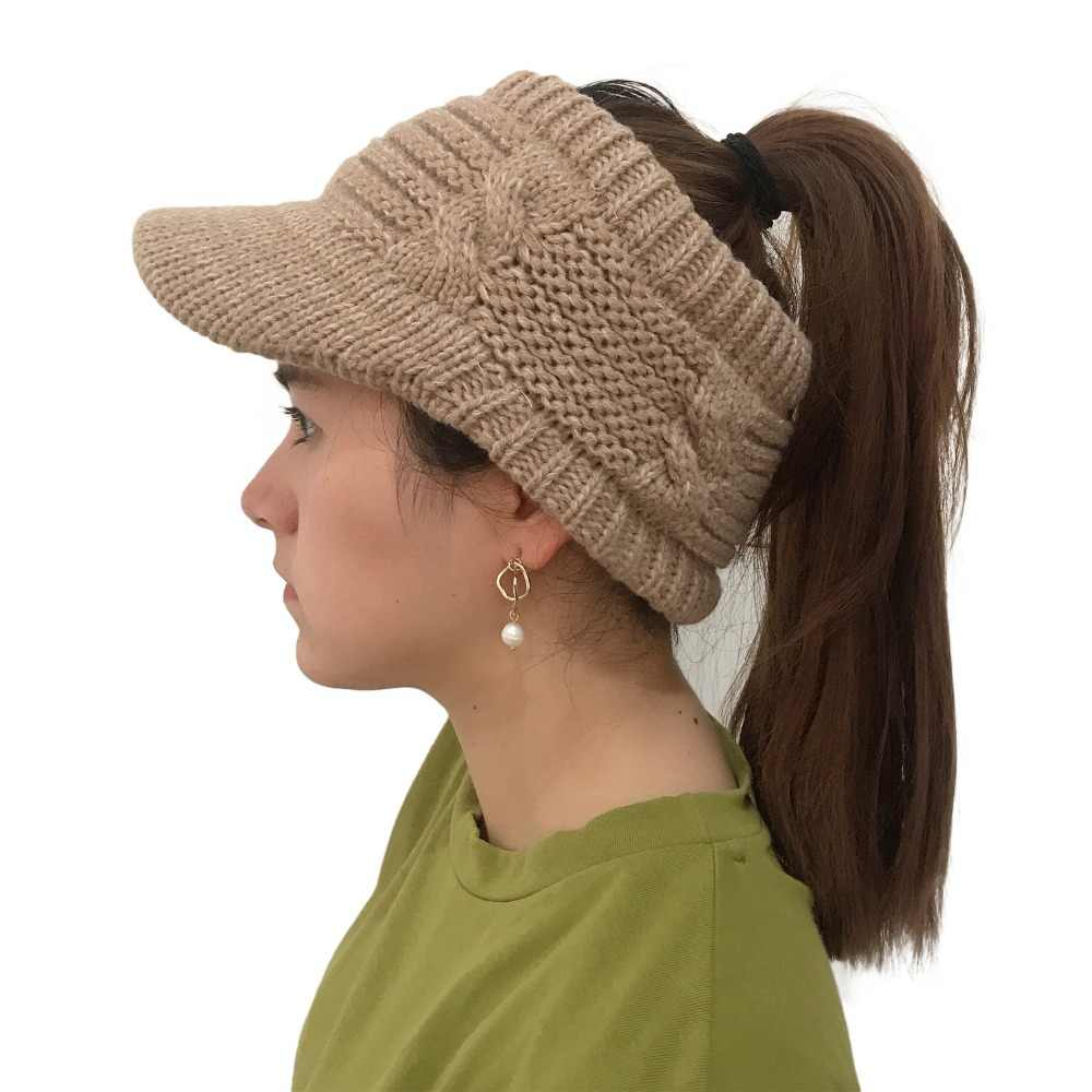 e6ec37ada Women winter Warm knitted hat with brim Elastic Visor Ponytail Beanies caps