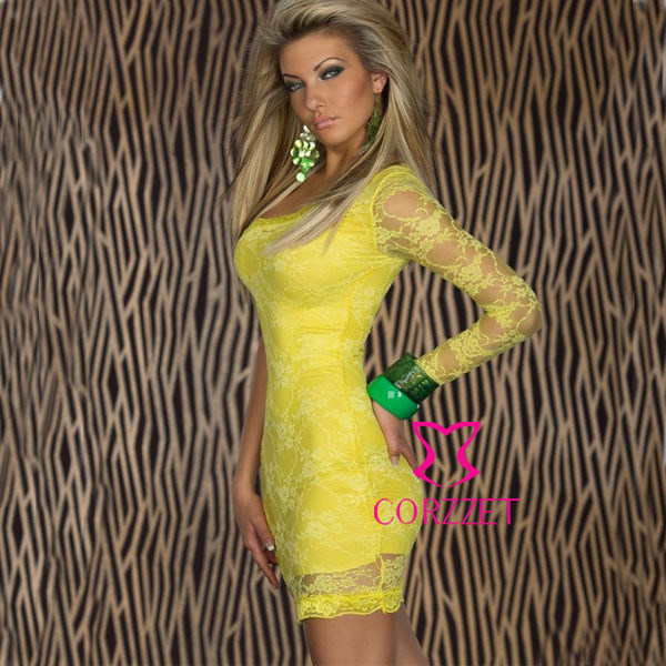 Spring Summer Brand Women Sexy Short Yellow Club Dress Fashion Party Wear  Plus Size Lace One 076c3698688c