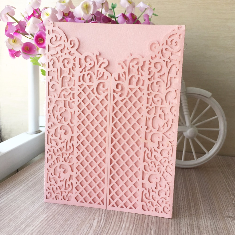 50pcs Pink Girl's Birthday lace wedding decoration invitation card Two folded Bat Mitzvah card Jewish blessing best wishes card