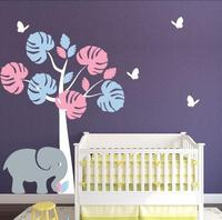 Jungle Tree Baby Girl Nursery Wall Vinyl Art Elephant and butterflies E co Friendly Vinyl Wall Stickers Perfect Quality ZA847