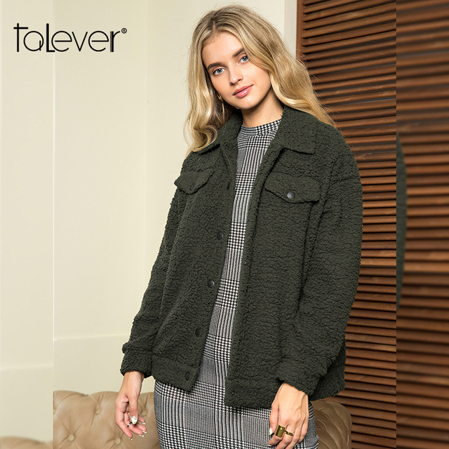 Women Autumn Winter Coat Long Sleeve Turn-down Collar Covered Button Coats Female Fashion Casual Solid Outerwear Coat Talever
