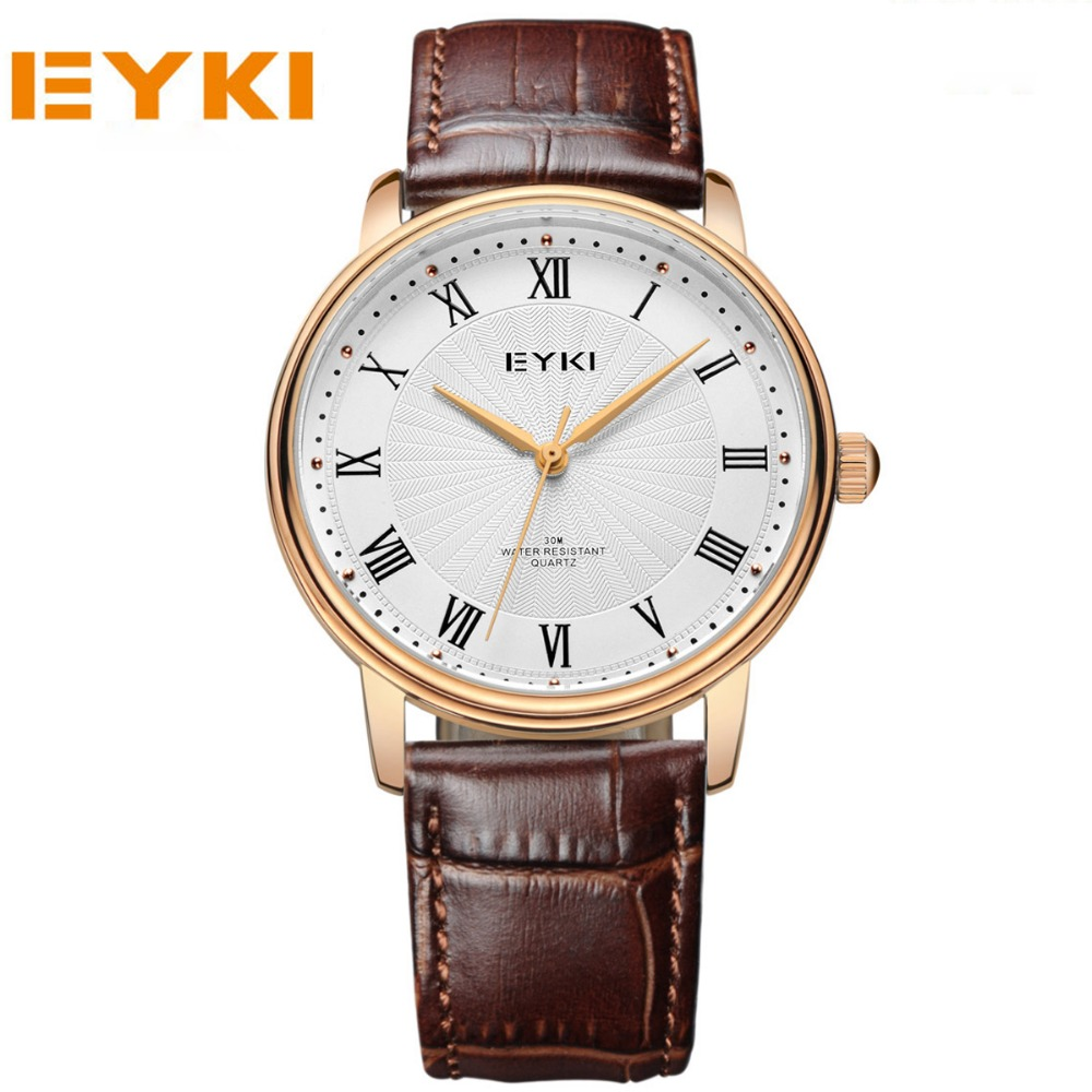 EYKI 2017 New Brand Quartz Watch lovers Watches Women Men Dress Watches Leather Strap Wristwatches Fashion Casual Watches Gold cagarny fashion watch women rose gold men s quartz watches men casual wristwatches for lovers unisex nylon strap reloje mujer