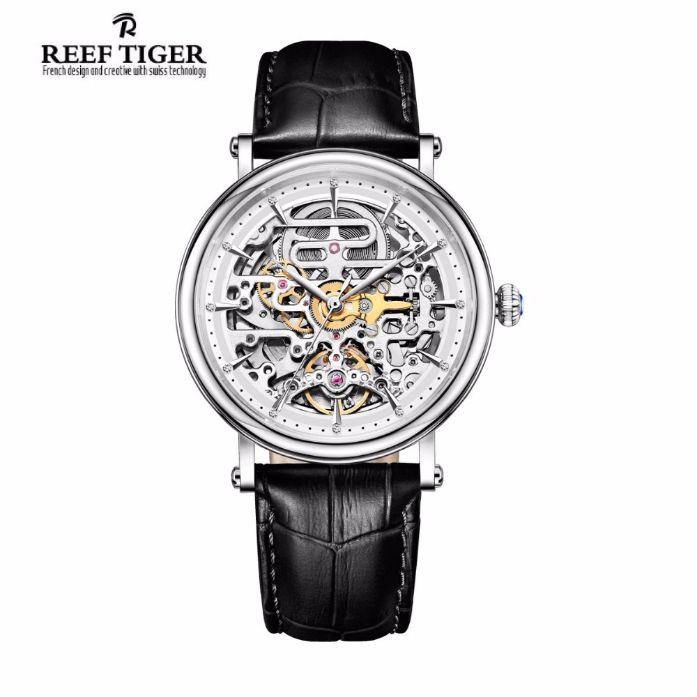 Reef Tiger/RT Vintage Watches for Men Ultra Thin Watch with Skeleton Dial Analog Automatic Wristwatches RGA1917 2x yongnuo yn600ex rt yn e3 rt master flash speedlite for canon rt radio trigger system st e3 rt 600ex rt 5d3 7d 6d 70d 60d 5d