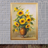 Realistic modern abstract vase sunflower plants in canvas wall life household decorate a room hotel sofa photos study porch corr