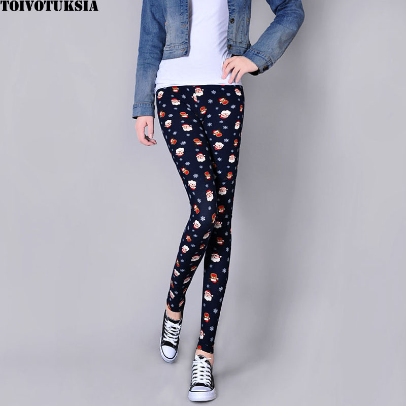 TOIVOTUKSIA New Arrival Women Printed Leggings Spandex Knitted Fesyen Leggins Skinny Primavera Pants Women