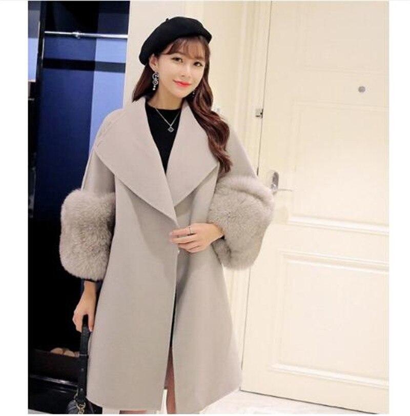 2017 Autumn Winter Women Coat Plus Size Fashion Turn Down Collar Warm Jacket Big Fur Sleeve Outwear Long Sleeves Wool Coat