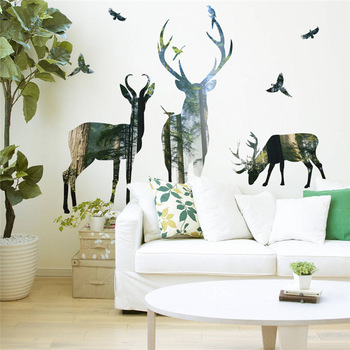 3d View Nature Forest Deer Wall Stickers Home Decor Living Room