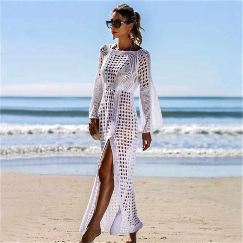 Sexy longo maiô de malha oco cobrir manga comprida vestido de praia aberto cruz saia feminina verão swim wear túnicas saida de praia