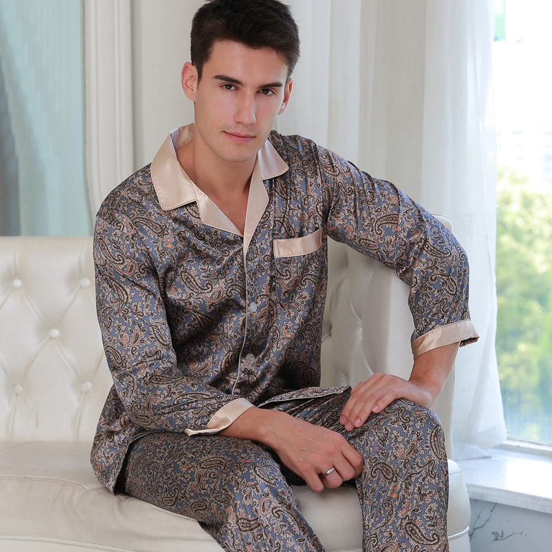 Sexy Silk Pajama Male Spring Summer Long Sleeve Sleepwear Men Fashion Printed Satin Silk Pyjama Pants Two Piece Sets 2018 NEW