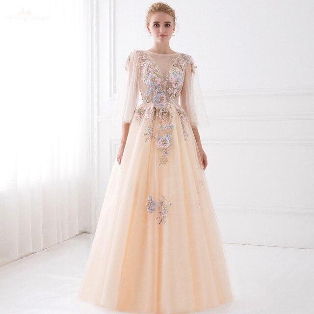 4c9d8ab074 LZF014 Neue Design 3D Blume Pailletten Kleid Perle Champagner Kleid Langarm  Abendkleider Kleider Vestido De Festa