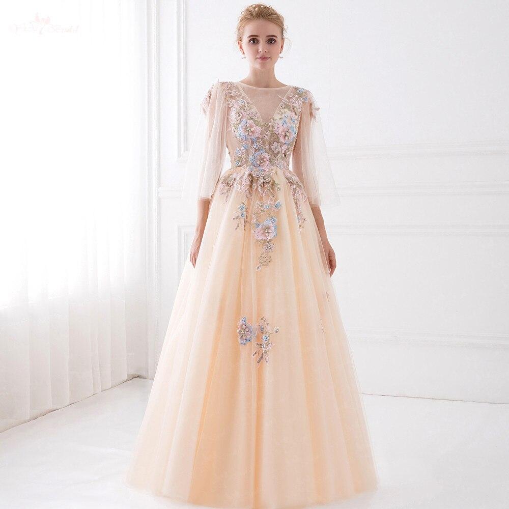 LZF014 nouveau Design 3D fleur Sequin robe perle Champagne robe à manches longues robes De soirée robes Vestido De Festa