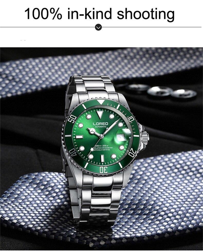Relógio automático para homens, loreo mecânico de