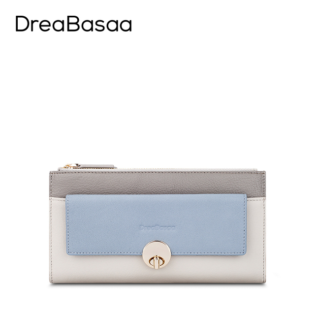 DreaBasaa Real Genuine leather Women Wallets  Brand Design High Quality 2016 Double Zipper Long Lady Wallet Purse Clutch