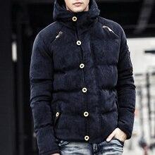 Высокое Качество С Капюшоном Зимняя Куртка Мужчины Теплый Сгущает Пальто Известный Хлопка Мягкой Моды Парки Плюс Размер на складе