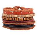 Leather bracelet 5pcs/set fashion OL jewelry Retro Wood beads bracelet female men Rivets bracelet Love bracelets for women
