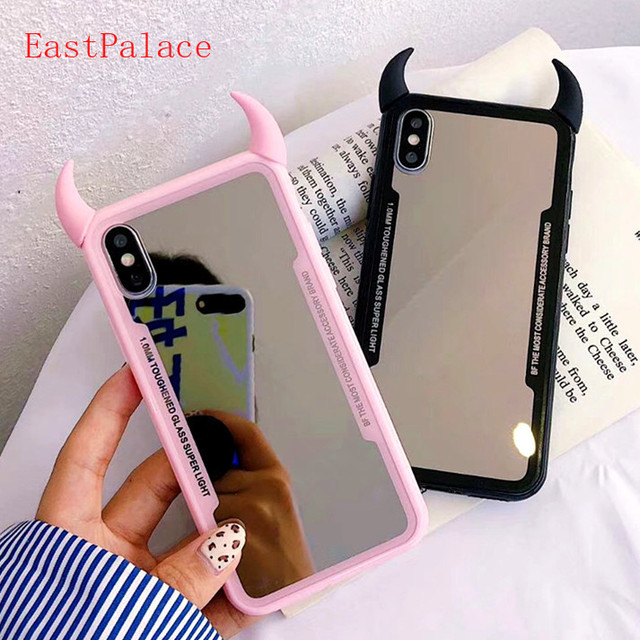 huge discount da63c 3d1ea US $5.99 |3D Kawaii Make Up Mirror Couple Phone Case for IPhone X XS MAX XR  8 7 6 S 6S Plus Case Back Cover Soft Silicon Shell Pink Black-in Fitted ...