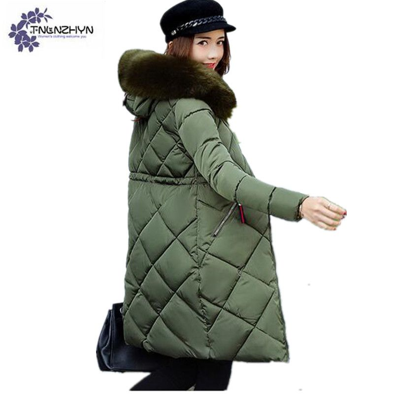 THLNZHYN 2017 winter womens thicken warm coat womens fur hooded army green parka Medium long slim large size cotton down jacket new 2015 autumn winter outdoors medium long fleece jacket fur hooded army green parka men thickening coat 10