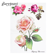 1 Piece Beauty Rose Flowers Tattoo Sticker Female Waist Shoulder Art Paint Temporary Tattoo Sticker Water Transfer Fashion HB662