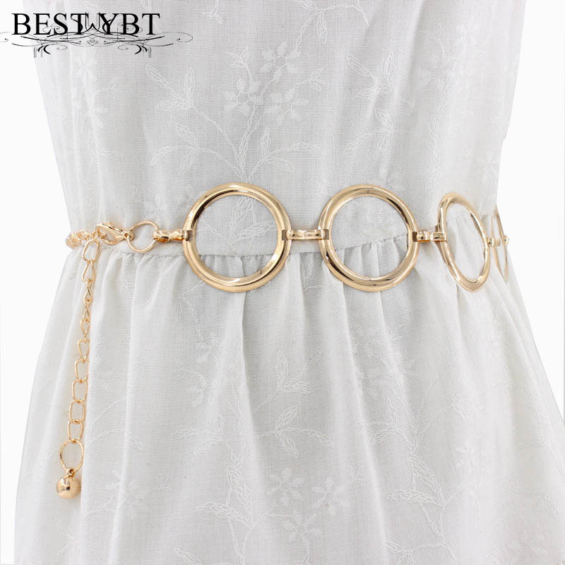 Best YBT Women's Metal Belt Alloy Hook Up Buckle Belt Fashionable Elegant Golden Lady Waist Chain Dress Decorative Metal Belt
