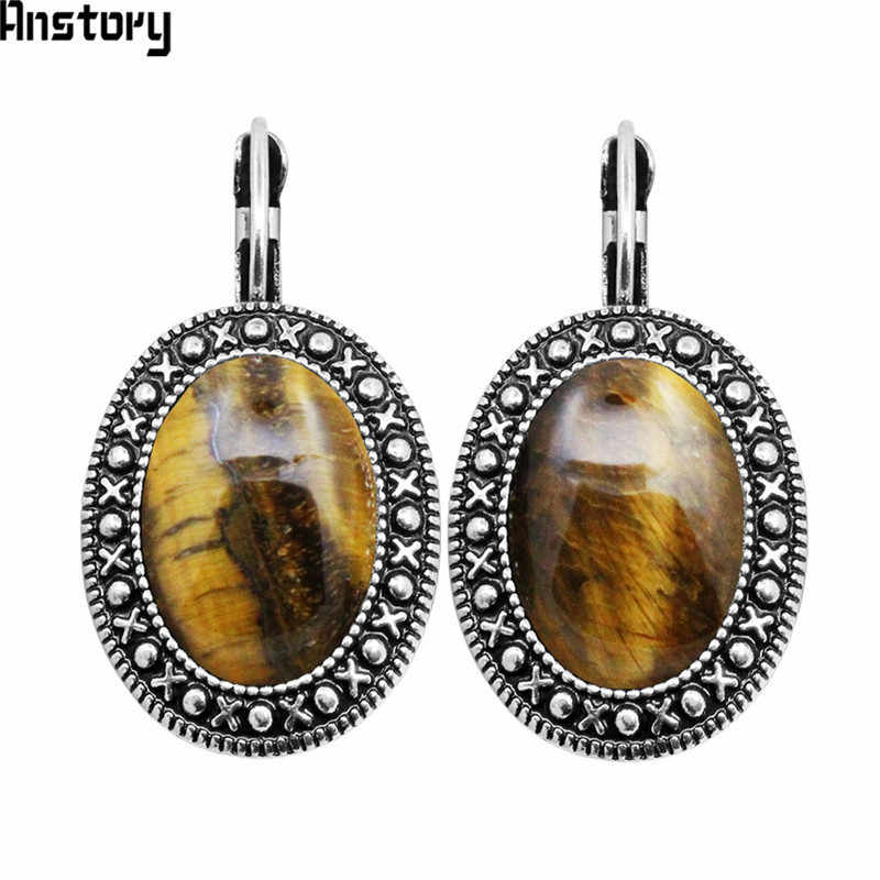 Natural Tiger Eye Stone Earrings Vintage Pendant Earrings For Women Antique Silver Plated Stone Fashion Jewelry
