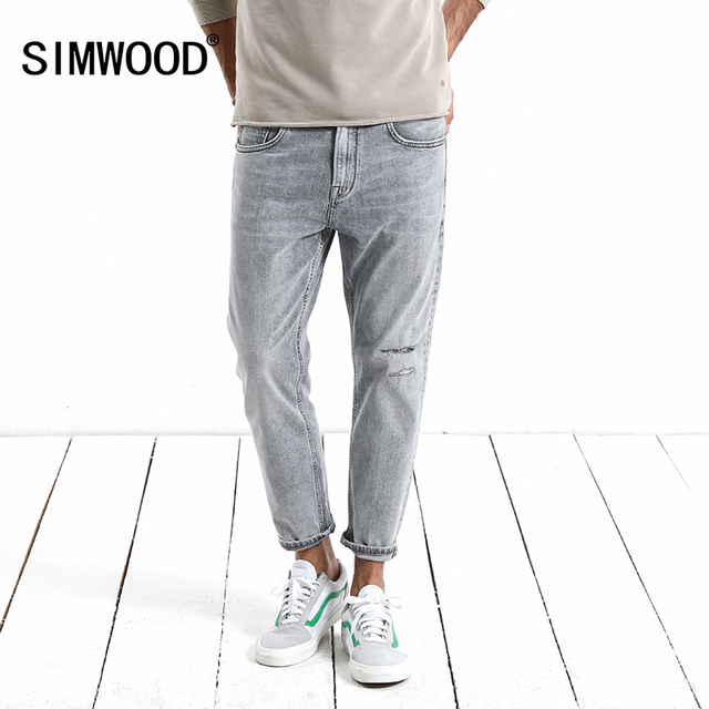 SIMWOOD 2018 Autumn  Summer New Hole Fashion Jeans Men Ankle-Length Ripped Denim Trousers Slim Fit High Quality 180131