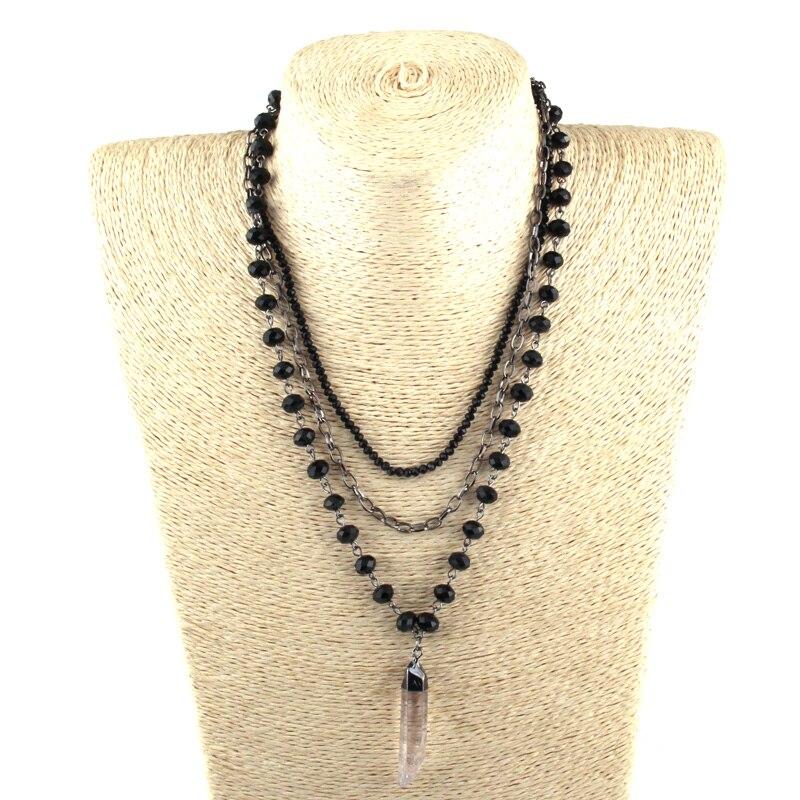 Бесплатная доставка, модные богемные ювелирные изделия, 3 слоя, кристалл, Розария, звено и цепочка, подвеска, ожерелья для женщин