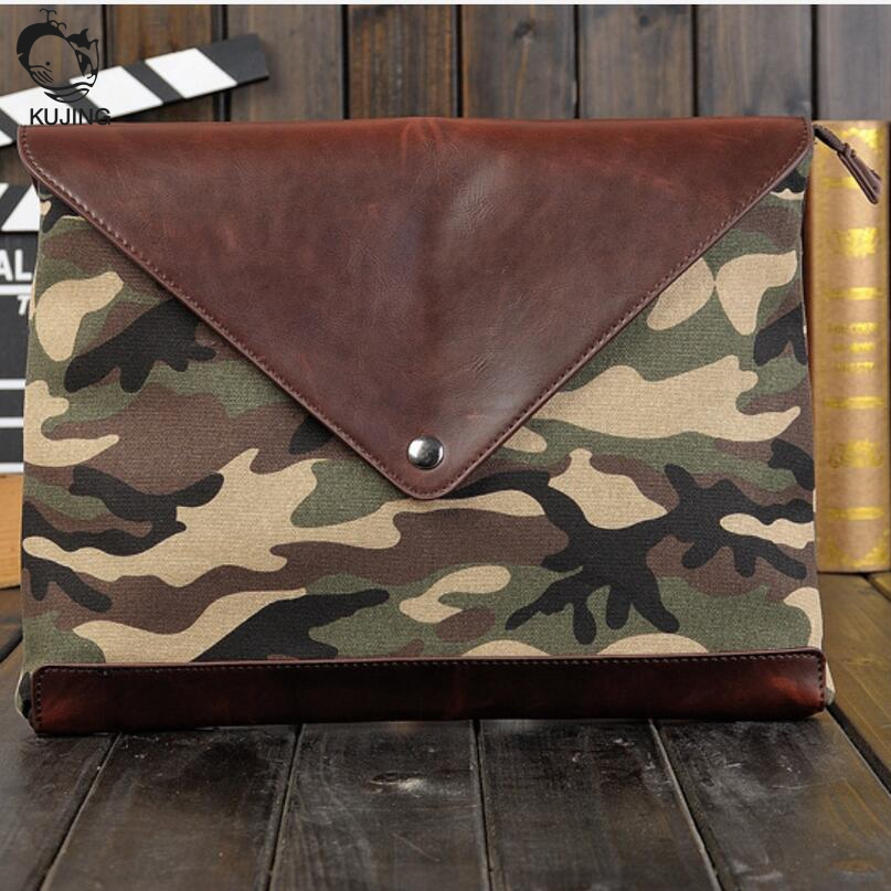 KUJING men and women briefcase fashion camouflage multi-functional envelope bag free shipping quality office file casual bag
