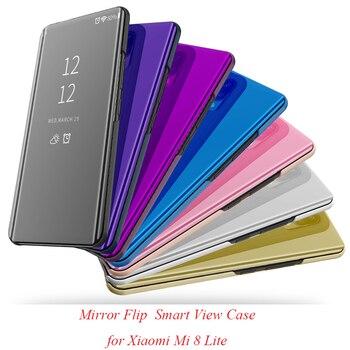Mirror Flip Case For Xiaomi Mi 8 Lite Luxury Clear View PU Leather Cover For Xiaomi Mi8 Lite Smart phone Case for xiaomi8 Lite