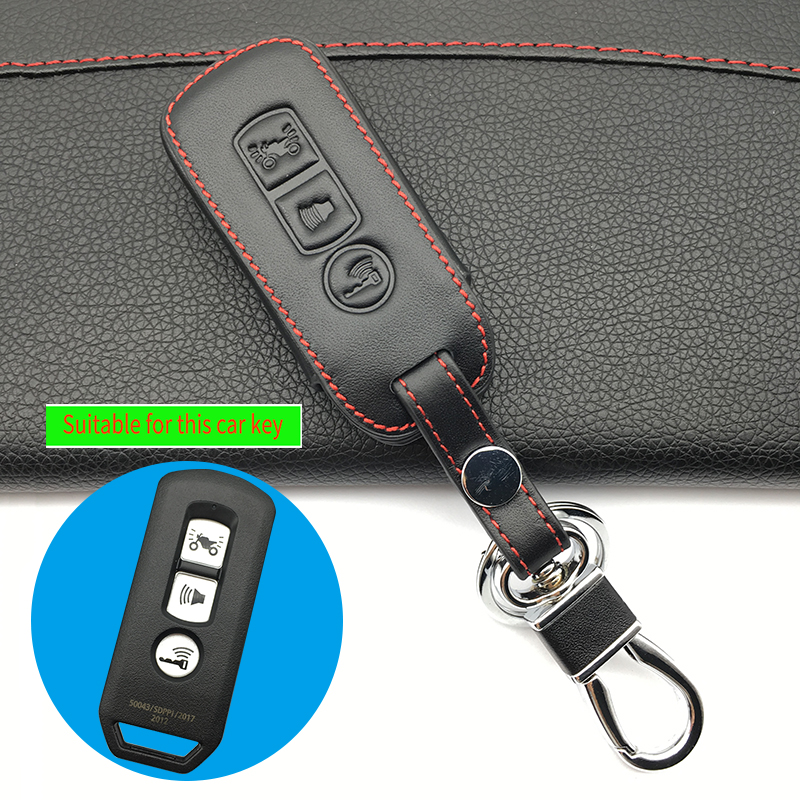 Leather key cover protection <font><b>kit</b></font> skin holder for <font><b>Honda</b></font> 2016 PCX 125 <font><b>150</b></font> motorcycle 3 buttons remote keychain <font><b>sticker</b></font> accessories image