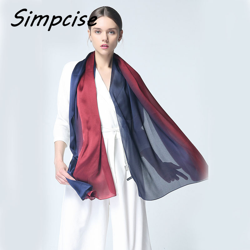 911aa916551ff Simpcise Silk Scarves for shawls Woman Luxury Brand Spring Summer Women  Silk Scarf Foulard Ombre Foulard Plus Size S9A189038-in Women's Scarves  from Apparel ...