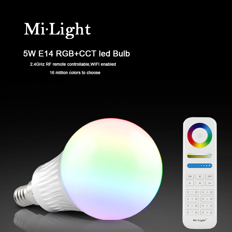 Milight E14 5W RGBC+CCT LED bulb with 2.4G 8-Zone wireless RF remote controller multicolor led lighting mi <font><b>light</b></font> FUT013