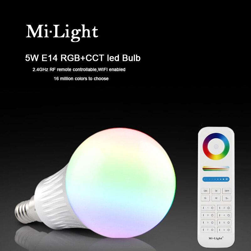 Milight E14 5W RGBC+CCT LED bulb with 2.s