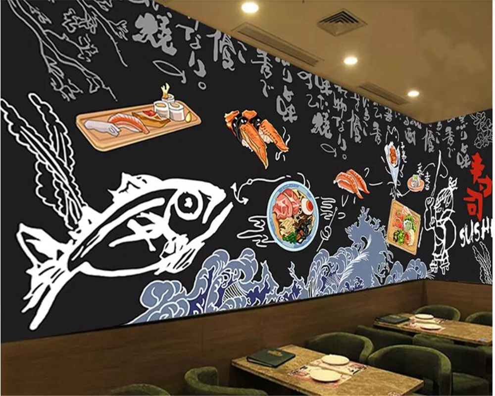 beibehang wall papers home decor Modern fashion personality green wallpaper hand-painted black cuisine restaurant background