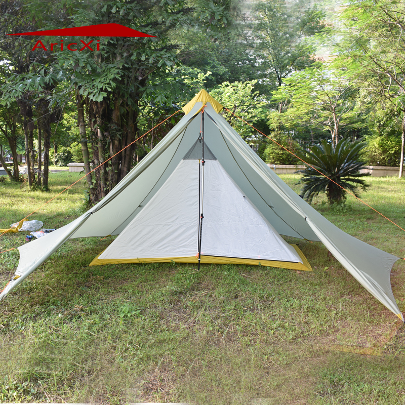 Ultralight Camping Tent 1-2 Person Outdoor 20D Nylon Both Sides Silicon Coating Rodless Pyramid Large Tower Tent outdoor ultralight 1 2 person 20d nylon both sides silicon pyramid shelter tent for hiking camping