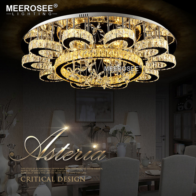 HTB1CrkfgnXYBeNkHFrdq6AiuVXaP Luxury Flower Shape Crystal Chandeliers Lighting Fixtures Round lustres Living Room Hotel Lamp LED Light Flush Mounted