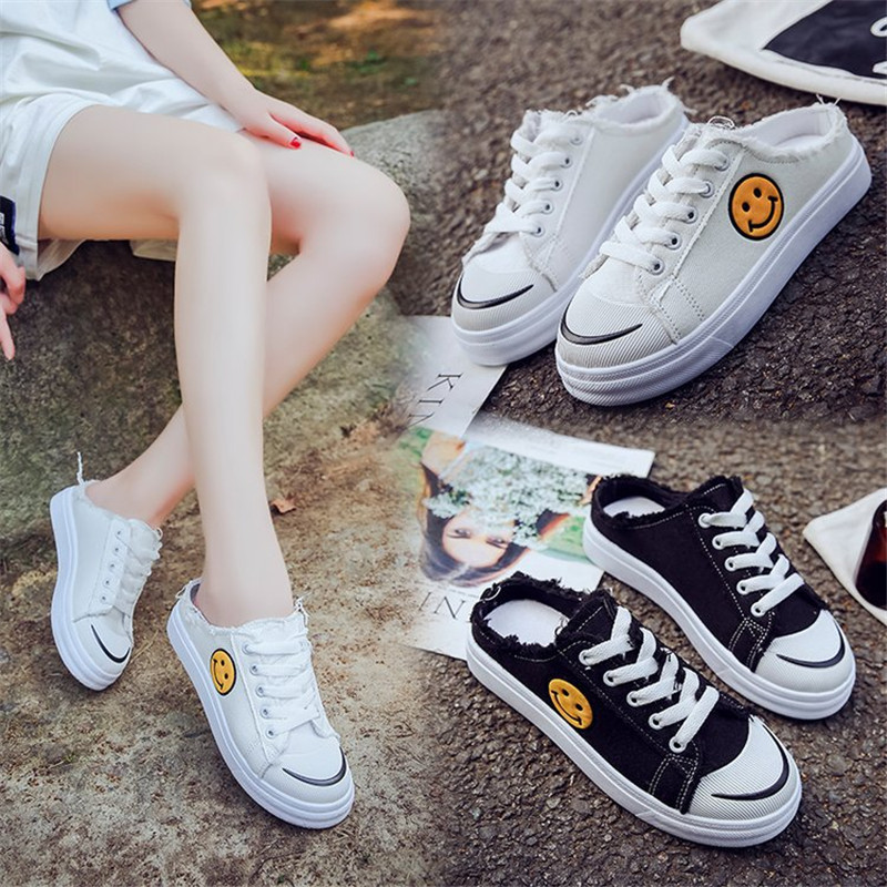 BODENSEE Women Canvas Shoes Girls Smiley Face lace-up fashio
